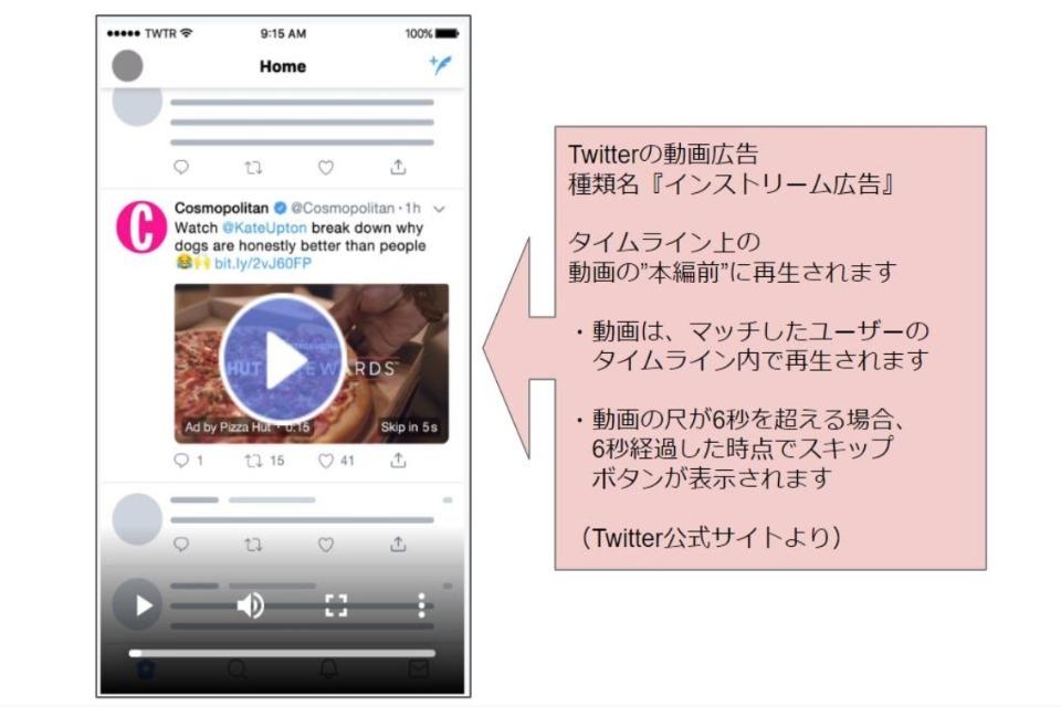 Twitterの「インストリーム広告」の説明図