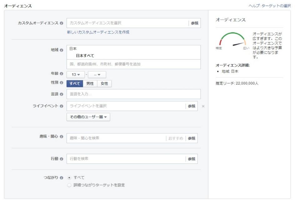 facebookのセグメント機能